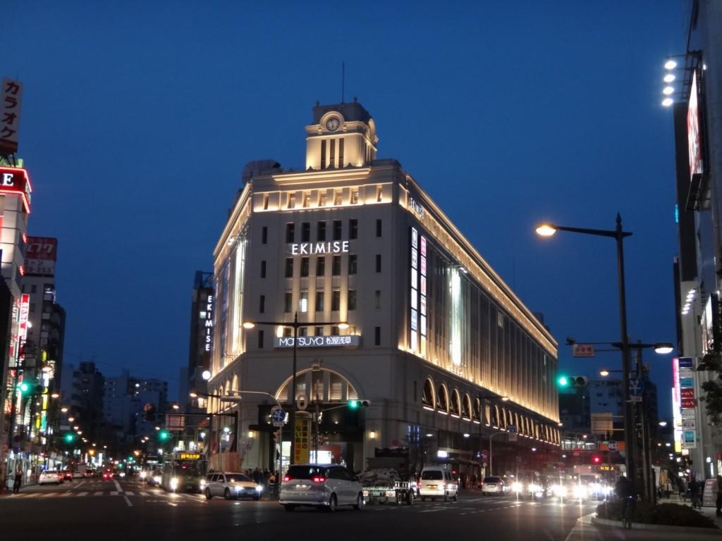 浅草駅のライトアップ