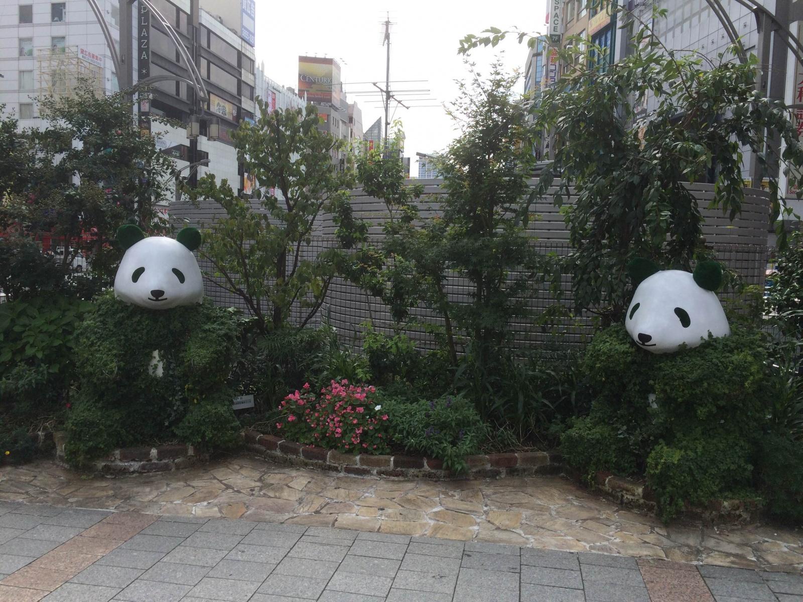 上野公園入口にパンダ